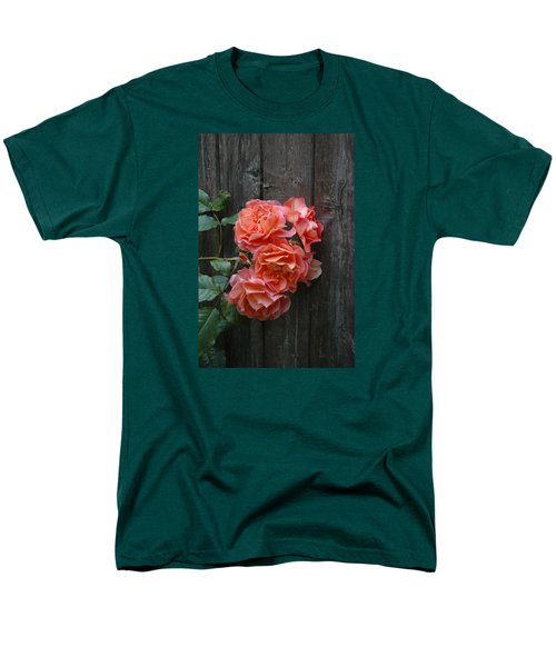Men's T-Shirt  (Regular Fit) featuring the photograph Westerland Rose Wood Fence by Tom Wurl