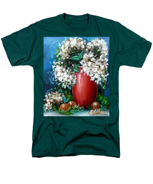 Men's T-Shirt  (Regular Fit) featuring the painting White Hydrangeas by Patrice Torrillo