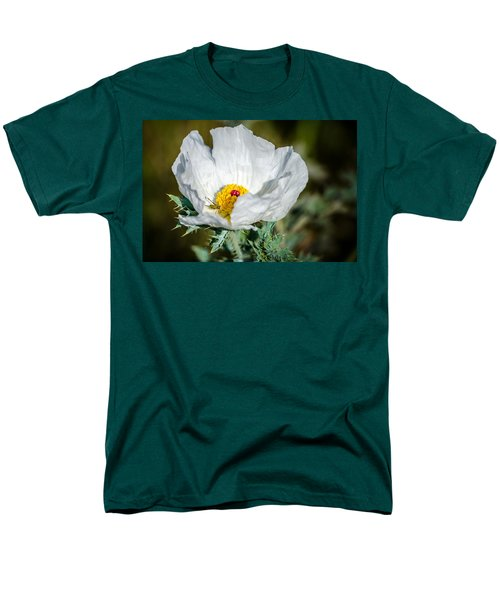 White Prickly Poppy Wildflower Men's T-Shirt  (Regular Fit) by Debra Martz