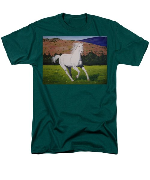 Men's T-Shirt  (Regular Fit) featuring the painting White Stallion by Norm Starks
