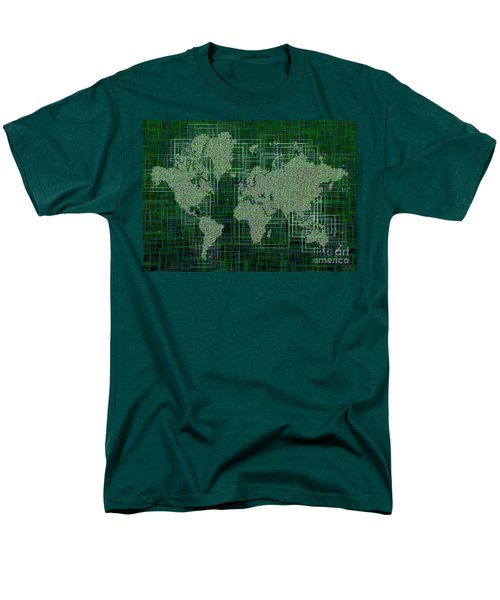 World Map Rettangoli In Green And White Men's T-Shirt  (Regular Fit) by Eleven Corners