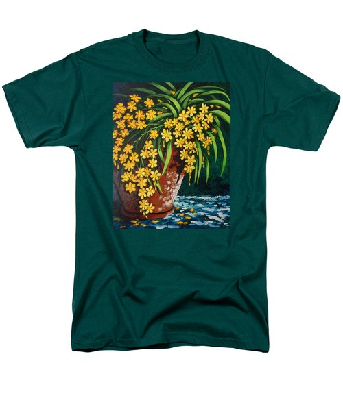 Men's T-Shirt  (Regular Fit) featuring the painting Yellow Cascade by Katherine Young-Beck