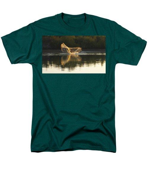 Men's T-Shirt  (Regular Fit) featuring the digital art Fisherman Throwing His Net by Anne Mott