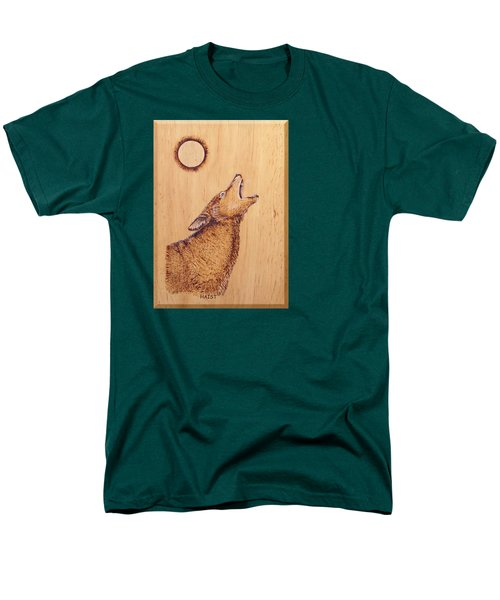 Men's T-Shirt  (Regular Fit) featuring the pyrography Coyote by Ron Haist