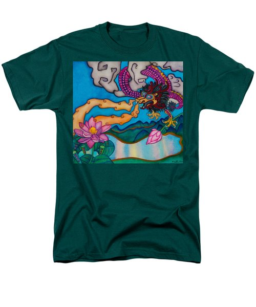 Men's T-Shirt  (Regular Fit) featuring the painting Dragon Heart And Lotus Flower by Lori Miller