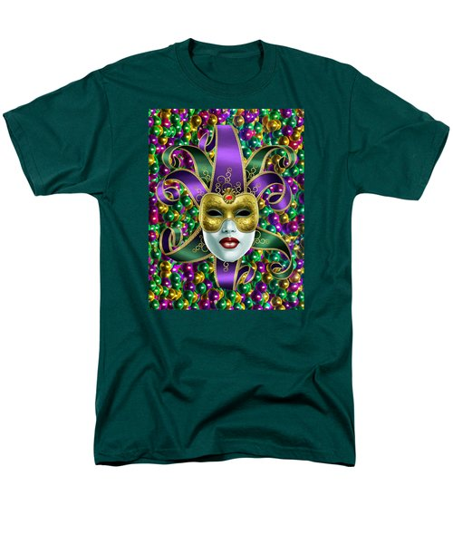 Mardi Gras Mask And Beads Men's T-Shirt  (Regular Fit)