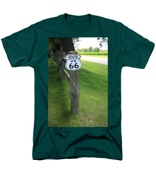 Men's T-Shirt  (Regular Fit) featuring the photograph Route 66 Shield And Fence Post by Frank Romeo