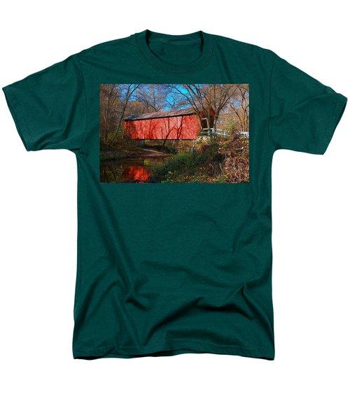 Sandy /creek Covered Bridge, Missouri Men's T-Shirt  (Regular Fit) by Steve Warnstaff