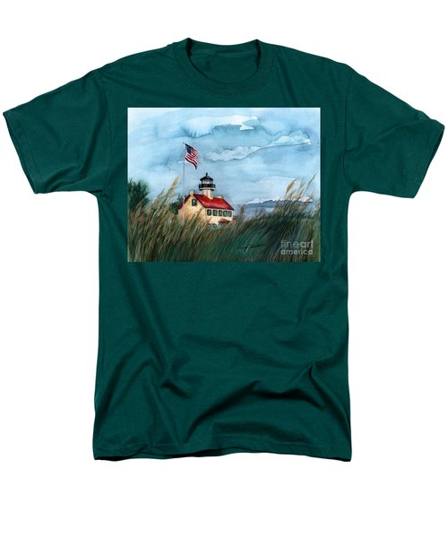 Men's T-Shirt  (Regular Fit) featuring the painting A New Day At East Point Lighthouse by Nancy Patterson