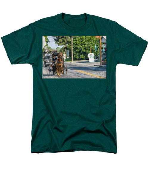 Men's T-Shirt  (Regular Fit) featuring the photograph Amish Girl On The Road by Patricia Hofmeester