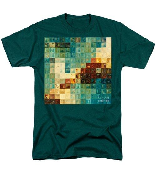 Aqua Tile Mosaic. Modern Mosaic Tile Art Painting Men's T-Shirt  (Regular Fit) by Mark Lawrence