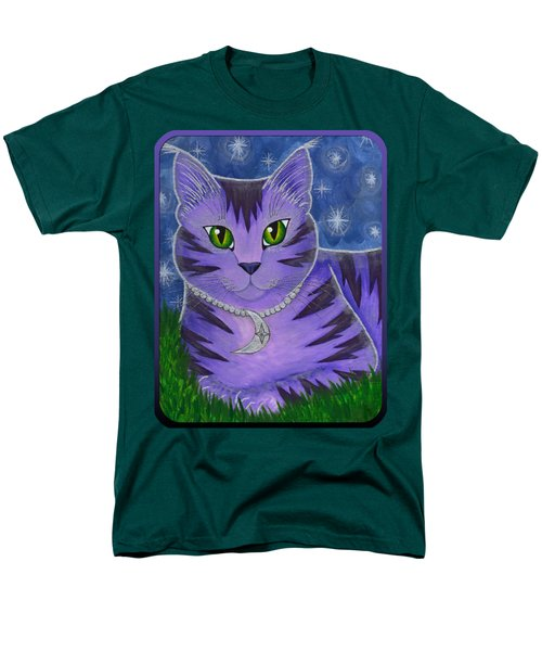 Men's T-Shirt  (Regular Fit) featuring the painting Astra Celestial Moon Cat by Carrie Hawks