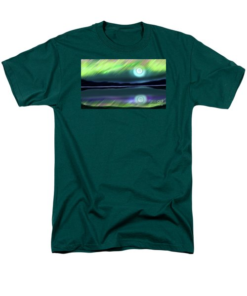 Men's T-Shirt  (Regular Fit) featuring the digital art Aurora Moon Lake by Patricia L Davidson
