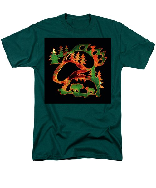 Emerald Bear Paw  Men's T-Shirt  (Regular Fit) by Larry Campbell