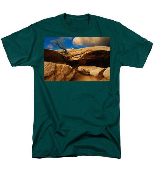 Men's T-Shirt  (Regular Fit) featuring the photograph Between A Rock And A Hard Place by Harry Spitz