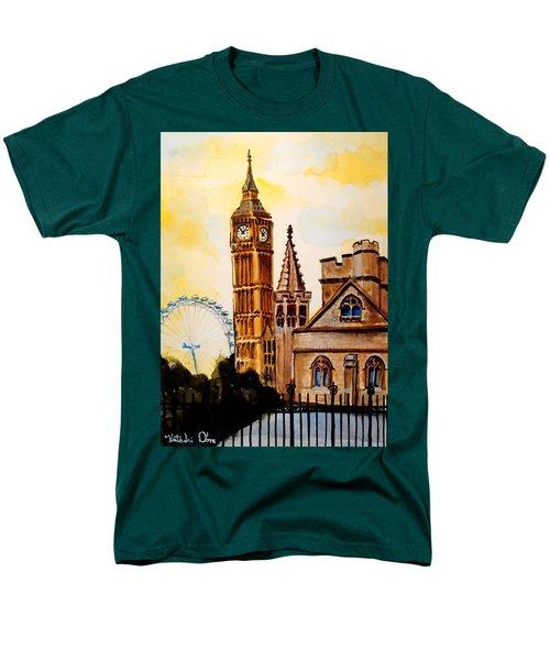 Big Ben And London Eye - Art By Dora Hathazi Mendes Men's T-Shirt  (Regular Fit) by Dora Hathazi Mendes