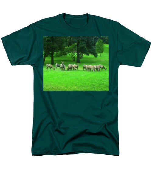 Men's T-Shirt  (Regular Fit) featuring the digital art Bighorn Sheep Ewes  by Chris Flees