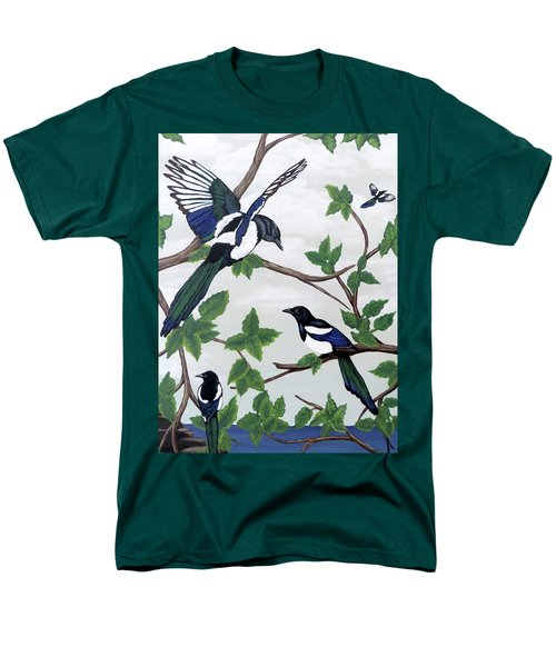 Men's T-Shirt  (Regular Fit) featuring the painting Black Billed Magpies by Teresa Wing