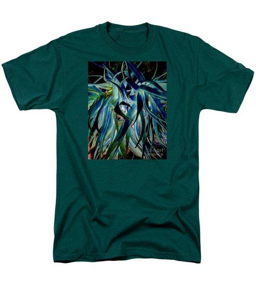 Blue Abstract Art Lorx Men's T-Shirt  (Regular Fit) by Rebecca Margraf