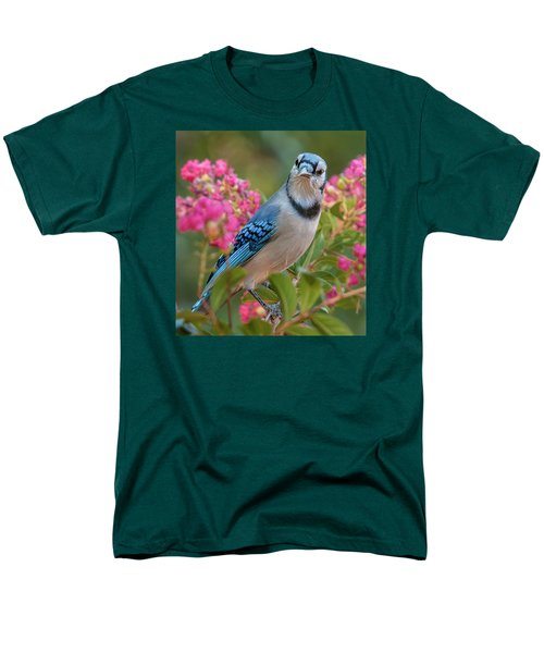 Men's T-Shirt  (Regular Fit) featuring the photograph Blue Jay In Crepe Myrtle by Jim Moore