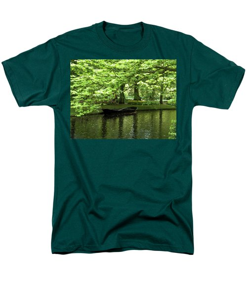 Men's T-Shirt  (Regular Fit) featuring the photograph Boat On A Lake by Manuela Constantin