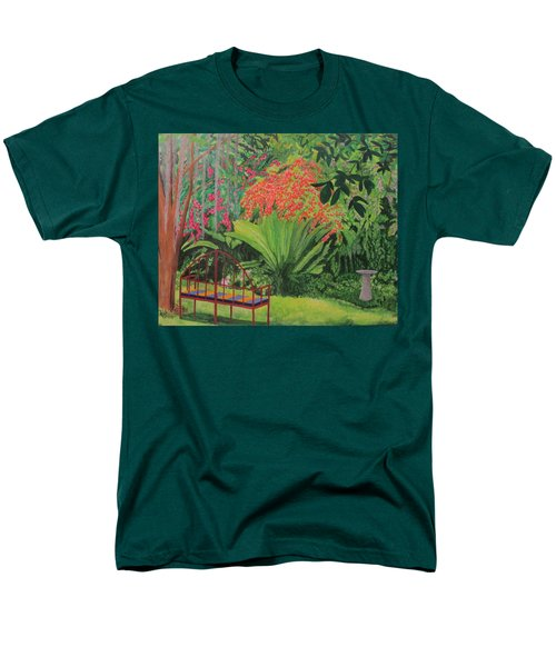 Men's T-Shirt  (Regular Fit) featuring the painting Bougainvillea Garden by Hilda and Jose Garrancho
