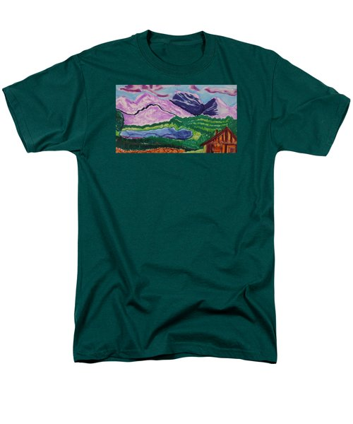 Men's T-Shirt  (Regular Fit) featuring the painting Cabin In The Mountains by Don Koester