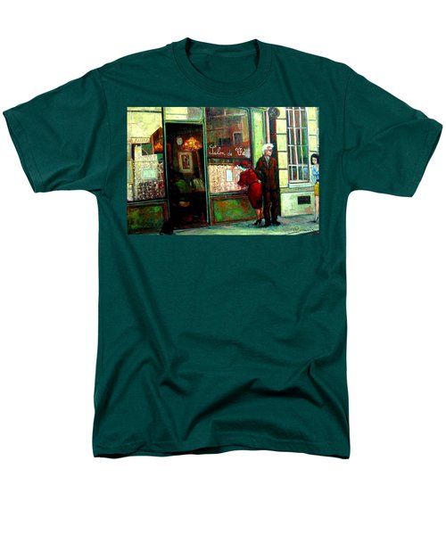 Men's T-Shirt  (Regular Fit) featuring the painting Contemplando El Menu-looking Up The Menu by Walter Casaravilla