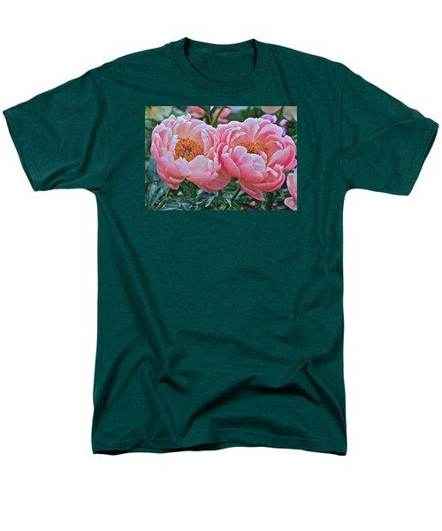 Coral Duo Peonies Men's T-Shirt  (Regular Fit) by Janis Nussbaum Senungetuk