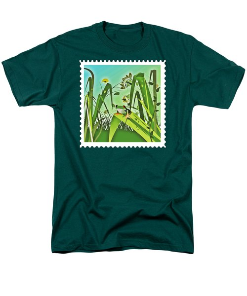 Cute Frog Camouflaged In The Garden Jungle Men's T-Shirt  (Regular Fit) by Elaine Plesser