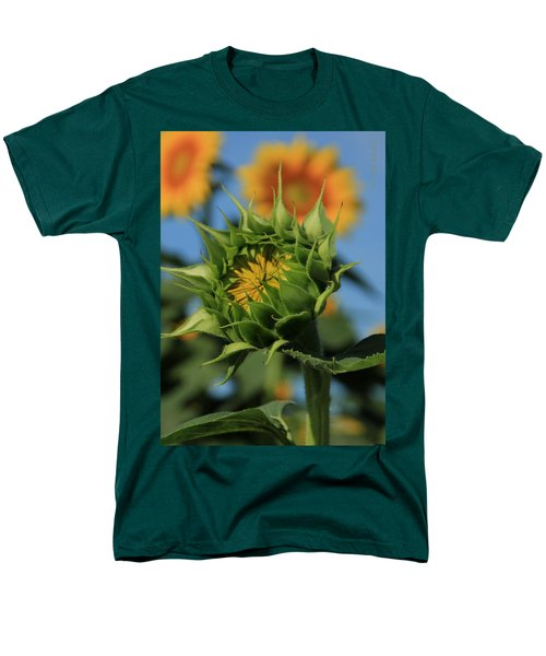 Men's T-Shirt  (Regular Fit) featuring the photograph Developing Petals On A Sunflower by Chris Berry
