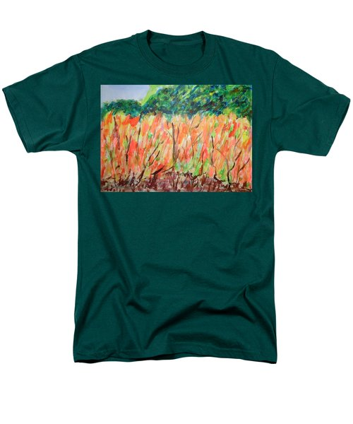 Men's T-Shirt  (Regular Fit) featuring the painting Fiery Bushes by Esther Newman-Cohen
