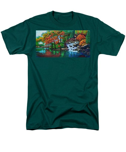 Men's T-Shirt  (Regular Fit) featuring the painting Forest Stream II by Michael Frank