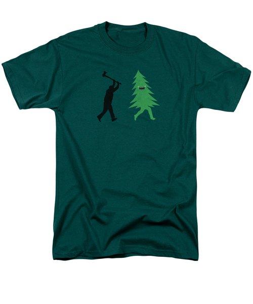 Funny Cartoon Christmas Tree Is Chased By Lumberjack Run Forrest Run Men's T-Shirt  (Regular Fit)