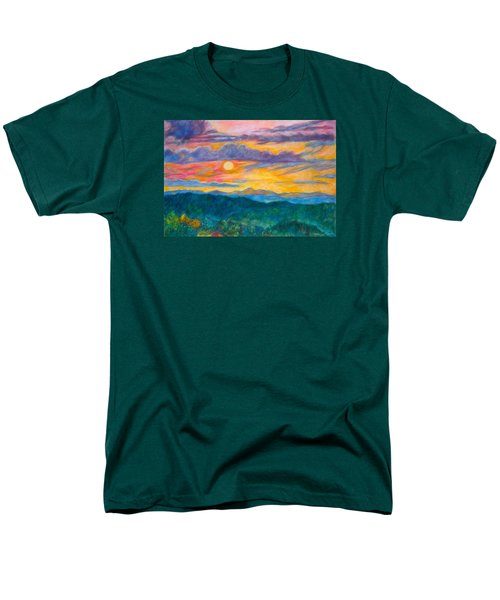 Men's T-Shirt  (Regular Fit) featuring the painting Golden Blue Ridge Sunset by Kendall Kessler