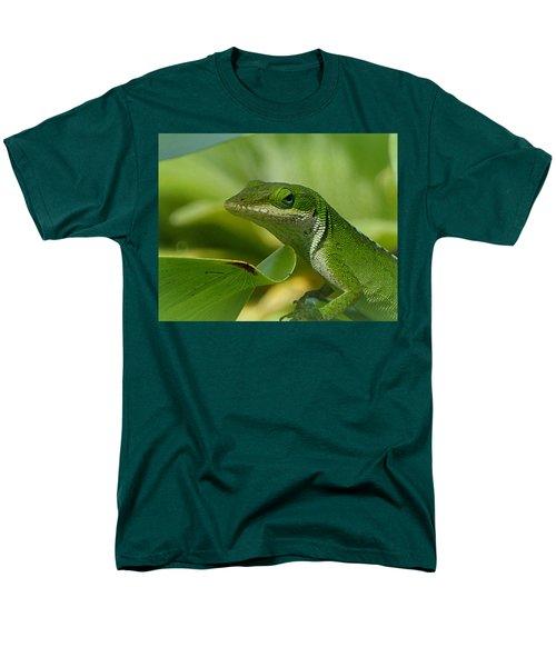 Green Gecko On Green Leaves Men's T-Shirt  (Regular Fit) by Lori Seaman