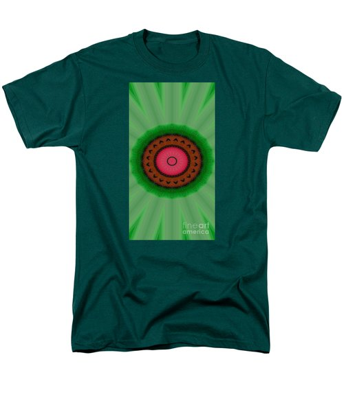 Men's T-Shirt  (Regular Fit) featuring the drawing Green Mandala Painting By Sariblle by Saribelle Rodriguez