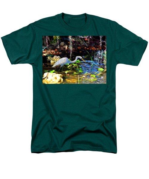 Men's T-Shirt  (Regular Fit) featuring the painting Heron In Quiet Pool by David  Van Hulst