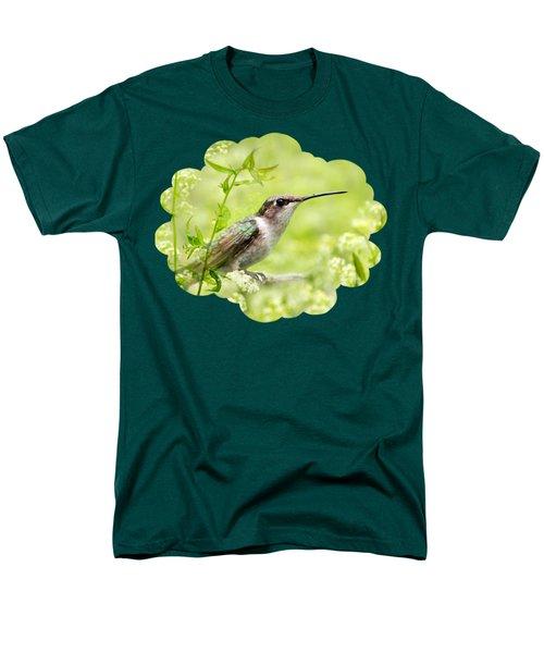 Hummingbird Hiding In Flowers Men's T-Shirt  (Regular Fit) by Christina Rollo