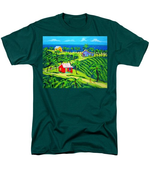 Island Time - Colorful Houses Caribbean Cottages Men's T-Shirt  (Regular Fit) by Rebecca Korpita