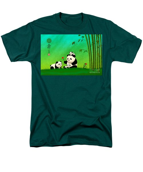Longevity Panda Family Asian Art Men's T-Shirt  (Regular Fit) by John Wills
