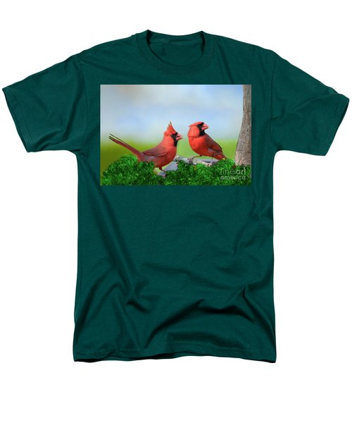 Male Northern Cardinals In Spring Men's T-Shirt  (Regular Fit) by Bonnie Barry