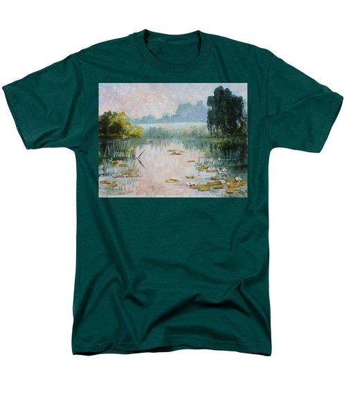 Mist Over Water Lilies Pond Men's T-Shirt  (Regular Fit) by Irek Szelag