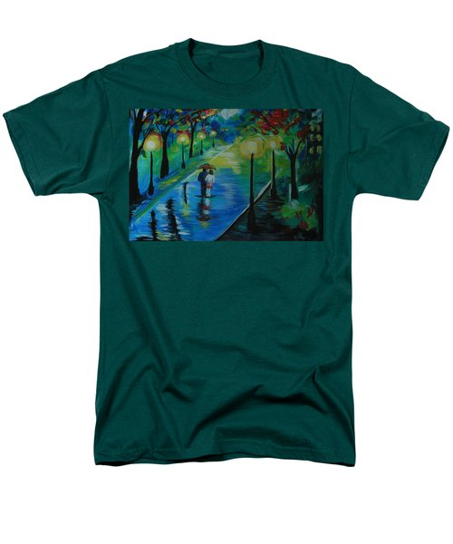 Men's T-Shirt  (Regular Fit) featuring the painting Moonlight Stroll by Leslie Allen
