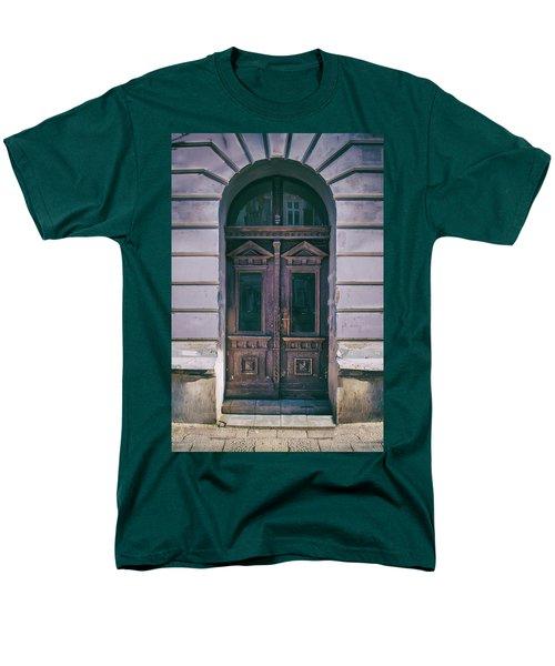 Ornamented Wooden Gate In Violet Tones Men's T-Shirt  (Regular Fit) by Jaroslaw Blaminsky