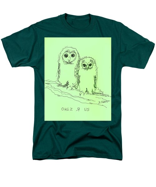 Men's T-Shirt  (Regular Fit) featuring the drawing Owlz R Us by Denise Fulmer