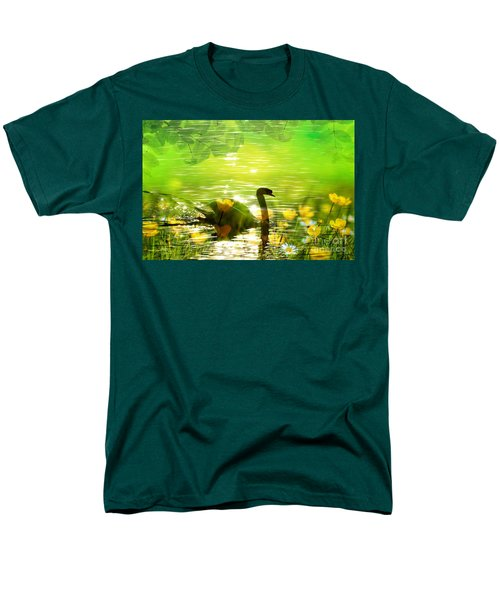 Peaceful Swan In Lake With Flowers Men's T-Shirt  (Regular Fit) by Annie Zeno