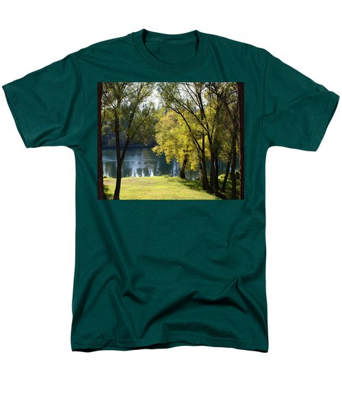 Men's T-Shirt  (Regular Fit) featuring the photograph Picnic Spot On Spokane River by Ben Upham III