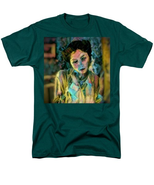 Men's T-Shirt  (Regular Fit) featuring the painting Portrait Colorful Female Wistfully Thoughtful Pastel by MendyZ