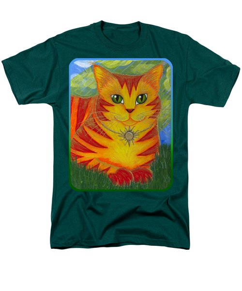 Men's T-Shirt  (Regular Fit) featuring the painting Rajah Golden Sun Cat by Carrie Hawks
